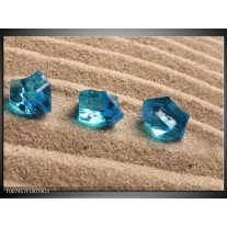 Glas Schilderij Zand, Stenen   Turquoise