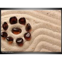 Glas Schilderij Zand, Stenen | Bruin