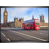 Glas Schilderij Engeland, London | Grijs, Blauw, Rood