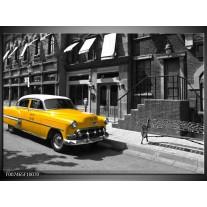 Canvas Schilderij Oldtimer, Auto | Zwart, Wit, Geel