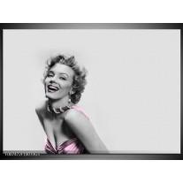 Glas Schilderij Marilyn Monroe, Muziek   Grijs, Wit, Paars