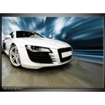 Glas Schilderij Audi, Auto | Wit, Blauw