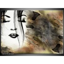 Glas Schilderij Gezicht, Vrouw | Zwart, Bruin, Wit