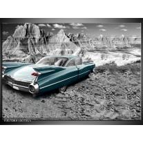 Glas Schilderij Oldtimer, Auto | Zwart, Wit
