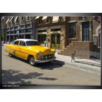 Canvas Schilderij Oldtimer, Auto | Geel, Bruin