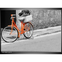 Canvas Schilderij Fiets  | Oranje, Zwart, Wit