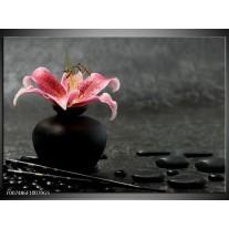 Glas Schilderij Bloem, Modern | Zwart, Roze, Grijs