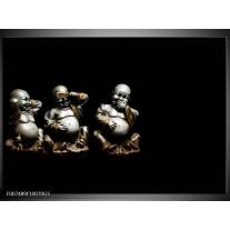 Glas Schilderij Boeddha, Beeld | Zwart, Grijs