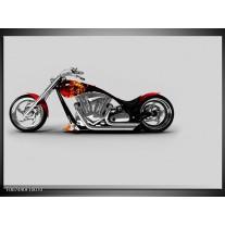 Canvas Schilderij Motor   Grijs, Zwart, Oranje