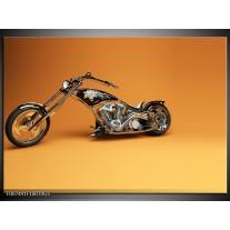 Glas Schilderij Motor | Bruin, Geel, Oranje