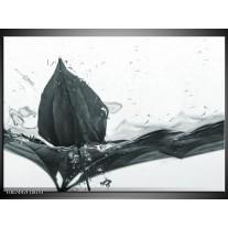 Canvas Schilderij Bloem | Grijs, Wit