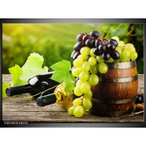 Canvas Schilderij Keuken, Druiven | Groen, Bruin