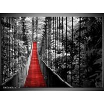 Canvas Schilderij Natuur, Brug | Zwart, Wit, Rood
