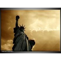 Glas Schilderij Vrijheidsbeeld, New York | Grijs, Geel, Bruin