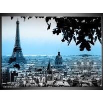 Canvas Schilderij Parijs, Eiffeltoren | Blauw, Grijs