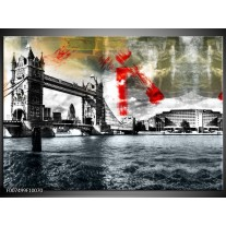Canvas Schilderij Brug, Engeland   Grijs, Zwart, Wit