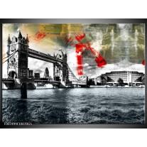 Glas Schilderij Brug, Engeland   Grijs, Zwart, Wit