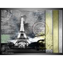 Glas Schilderij Parijs, Eiffeltoren   Grijs