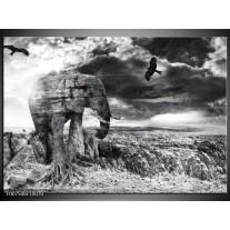 Canvas Schilderij Modern, Olifant | Zwart, Wit, Grijs
