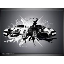 Glas Schilderij Audi, Auto | Zwart, Wit, Grijs