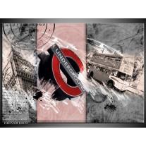 Canvas Schilderij Underground, Engeland   Grijs, Rood