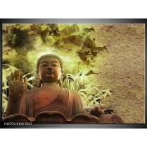 Glas Schilderij Boeddha, Beeld | Bruin, Groen