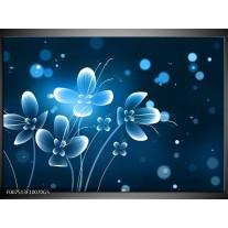 Glas Schilderij Bloemen, Modern | Blauw, Wit