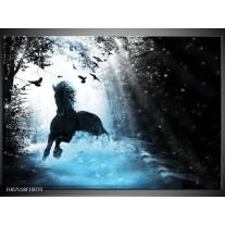 Canvas Schilderij Paard, Modern | Blauw, Zwart, Wit