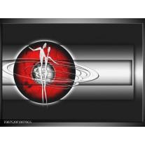 Glas Schilderij Abstract, Modern | Zwart, Wit, Rood