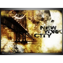 Glas Schilderij New York, Modern | Bruin, Zwart, Geel