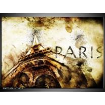 Glas Schilderij Parijs, Eiffeltoren | Bruin, Zwart, Geel
