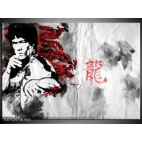 Glas Schilderij Bruce Lee, Sport   Zwart, Wit, Rood