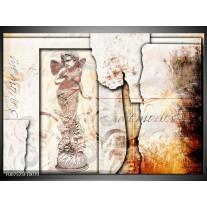 Canvas Schilderij Design, Engel | Crème, Oranje, Bruin