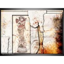 Glas Schilderij Design, Engel | Crème , Oranje, Bruin