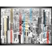 Glas Schilderij Modern, Steden | Zwart, Wit