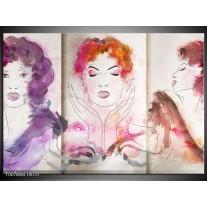 Canvas Schilderij Vrouwen | Crème, Paars, Roze