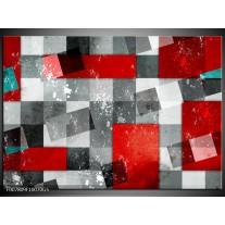 Glas Schilderij Design | Grijs, Rood