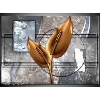 Glas Schilderij Modern | Grijs, Goud
