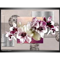 Canvas Schilderij Orchidee, Bloemen | Paars, Grijs