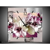 Wandklok Schilderij Orchidee, Bloemen | Paars, Grijs