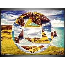 Glas Schilderij Design | Geel, Turquoise, Bruin