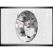 Glas Schilderij Hert, Modern | Zwart, Wit