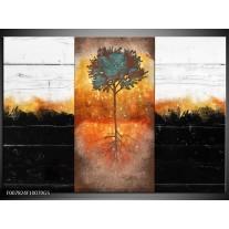 Glas Schilderij Boom | Oranje, Zwart, Wit