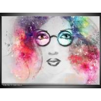 Glas Schilderij Vrouw | Grijs, Roze