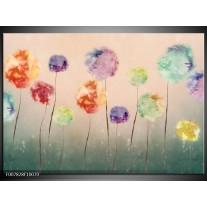 Canvas Schilderij Bloemen | Groen, Crème