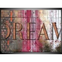 Glas Schilderij Landelijk, Dream | Grijs, Roze