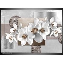 Canvas Schilderij Orchidee, Bloemen | Grijs, Wit