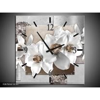 Wandklok Schilderij Orchidee, Bloemen | Grijs, Wit
