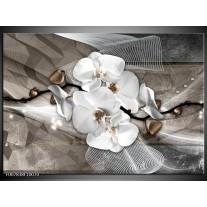 Canvas Schilderij Orchidee, Modern | Wit, Grijs