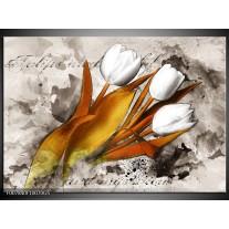 Glas Schilderij Tulpen, Bloemen | Bruin, Crème